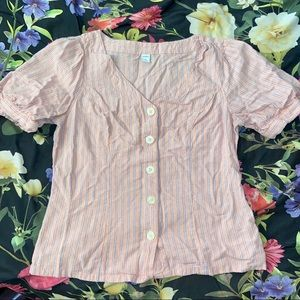 OLD NAVY PINK STRIPE BUTTON UP TOP